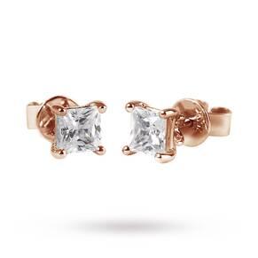9ct Rose Gold 0.15ct Princess Cut Stud Earrings