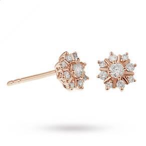 9ct Rose Gold 0.25ct Snowflake Stud Earrings
