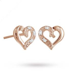 9ct Rose Gold Diamond Set Heart Stud Earrings