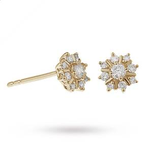 9ct Yellow Gold 0.25ct Snowflake Stud Earrings