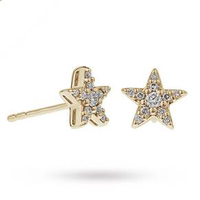 9ct Yellow Gold 0.15ct Diamond Star Stud Earrings