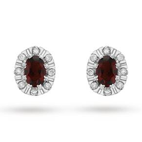 9ct White Gold Oval Cut Garnet And 0.17cttw Diamond Stud Earrings