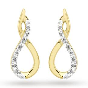 Disney Couture 9ct Yellow Gold 0.06cttw Diamond Set Infinity Stud Earrings