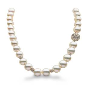 Yoko 18ct Yellow Gold Pearl and 1.73ct Diamond Necklet