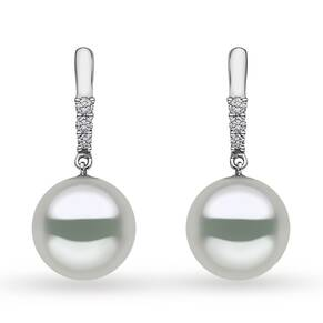 Yoko 18ct White Gold 10mm Pearl Diamond Drop Earrings