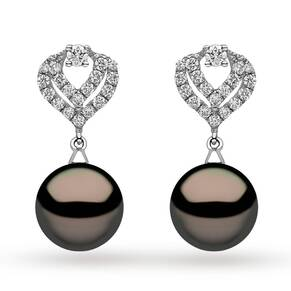 Yoko 18ct White Gold 10mm Cultured Tahitian Pearl Drop Earrings