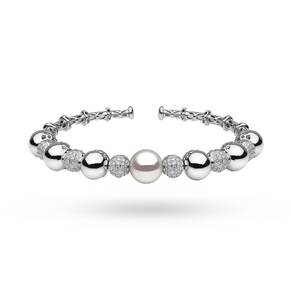 Yoko 18ct White Gold 1.08ct Diamond and Pearl Bangle