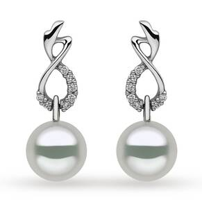 Yoko 18ct White Gold 0.11ct Diamond 10-11mm Pearl Stud Earrings