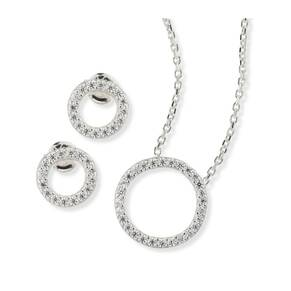 Silver Cubic Zirconia Open Circle Earrings And Pendant Set