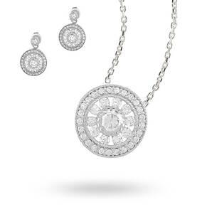 Sterling Silver Cubic Zirconia Antique Style Necklace and Earring Set