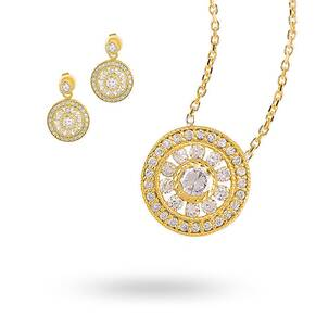 Gold Plated Cubic Zirconia Antique Style Necklace and Earring Set