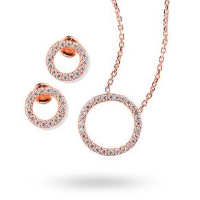 Rose Gold Plated Cubic Zirconia Open Circle Necklace and Earring Set