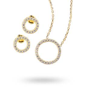 Yellow Gold Plated Cubic Zirconia Open Circle Necklace and Earring Set