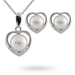 Silver Heart Cubic Zirconia & Pear Gift Set