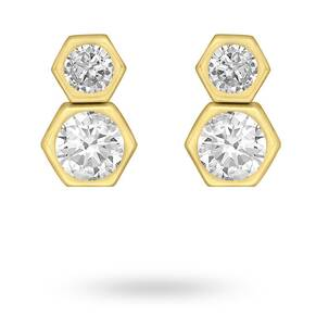9ct Yellow Gold Double Hexagon Stud Earrings