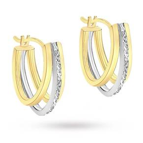 9 Carat 2 Colour Gold Diamond Cut Triple Huggy Earrings
