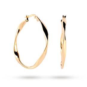 9ct Yellow Gold Wave Hoop Earrings