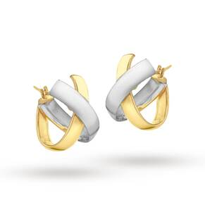 9ct 2-Colour Gold Kiss Huggy Earrings