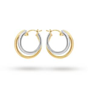 9ct 2-Colour Gold Polished Double Creole Earrings