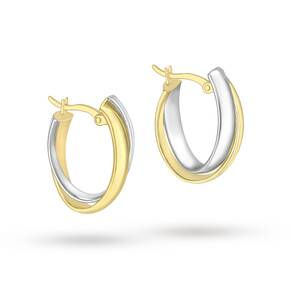 9ct 2-Colour Gold Double Crossover Hoop Earrings