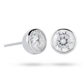 9ct White Gold 5mm Besel Set Stud Earrings