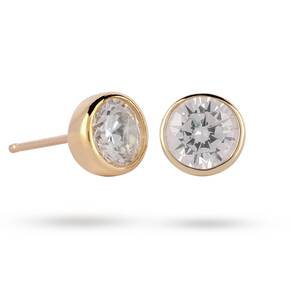 9ct Yellow Gold 5mm Besel Set Stud Earrings