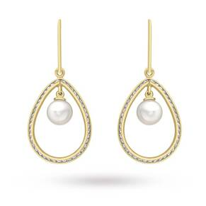 9 Carat Yellow Gold Pearl and Cubic Zirconia Teardrop Earrings