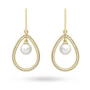 9 Carat Yellow Gold Pearl and Cubic Zirconia Teardrop Earrings