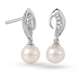 9ct White Gold Swoop 6-6.5mm Pearl 0.024ct Diamond Drop