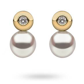 9ct Yellow Gold Mini Cubic Zirconia & Pearl Stud Earrings
