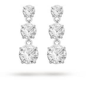 Silver Cubic Zirconia 3 Stone Drop Earrings