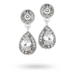 Silver Cubic Zirconia Drop Pear Halo Stud Earrings