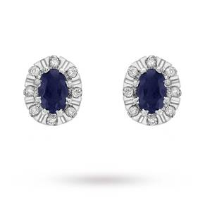 9 Carat White Gold Diamond and Sapphire Cluster Stud Earrings