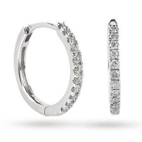 9ct White Gold 0.15ct Diamond Small Hoop