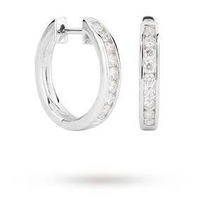 9ct White Gold 0.50ct Channel Set Hoop