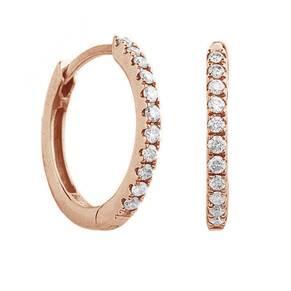 9ct Rose Gold 0.15ct Diamond Hoop Earrings
