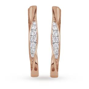 9ct Rose Gold 0.12ct Diamond Medium Hoop Earrings