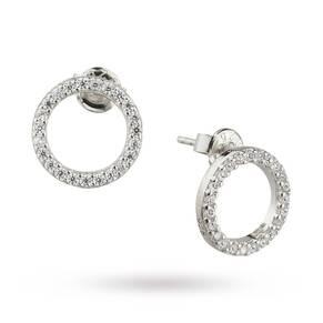Silver Cubic Zirconia Open Circle Stud Earrings