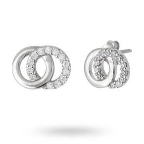 Sterling Silver Cubic Zirconia Interlinking Circle Stud Earrings