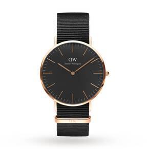 Daniel Wellington Unisex Classic Black Cornwall Watch 40mm Watch