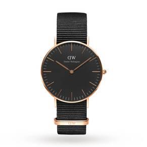 Daniel Wellington Unisex Classic Black Cornwall Watch 36mm Watch