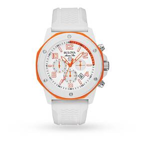 Mens Bulova Marine Star Duramic White Chronograph Watch