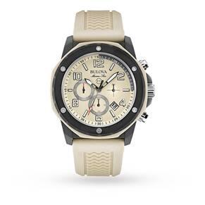 Mens Bulova Marine Star Duramic Cream Chronograph Watch