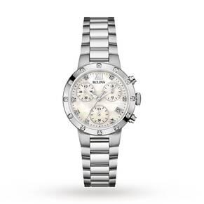 Ladies Bulova Diamond Gallery Chronograph Diamond Watch 96R202