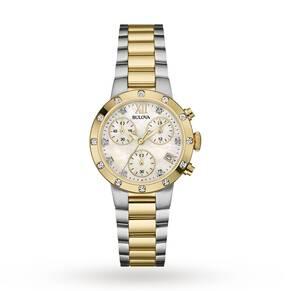 Ladies Bulova Diamond Gallery Chronograph Diamond Watch 98R209