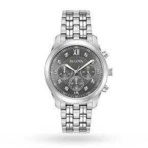 Mens Bulova Dress Chronograph Diamond Watch 96D135