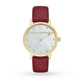 Kate Spade New York Ladies Metro Burgundy Leather Strap Watch KSW1209