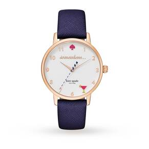 Kate Spade New York Metro 5 O'Clock White Dial Navy Leather Ladies Watch