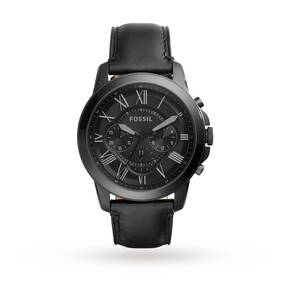 Fossil Chronograph Black Leather Watch FS5132