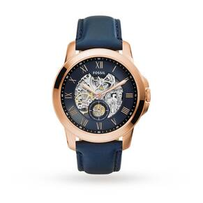 Fossil Automatic Navy Leather Watch ME3054